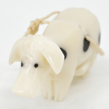 Hand Carved Tagua Nut Carving Small Milk Cow Ornament Handmade in Ecuador image 2