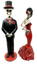 Day Of The Dead Ball Wedding Rose Skeleton Bride & Groom Figurine Dia De... - $53.99