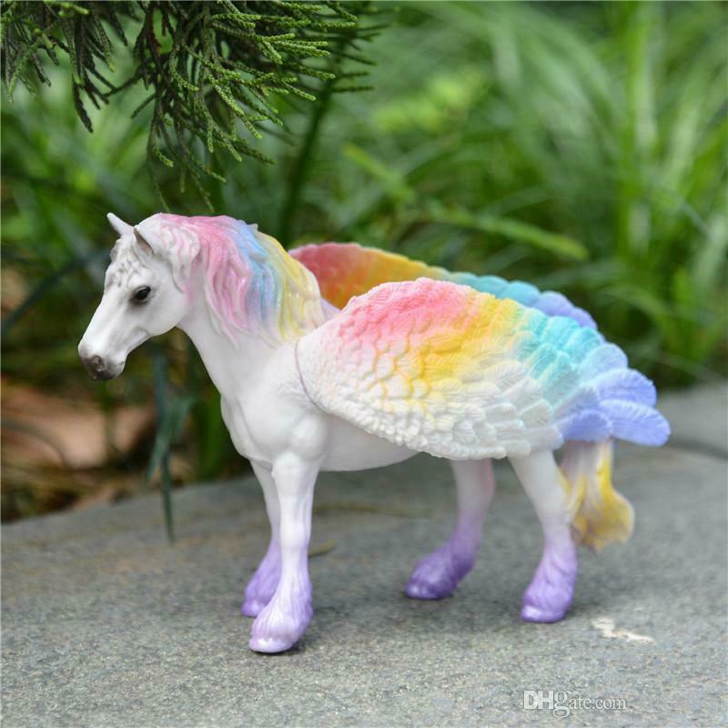 4 Styles Mini Unicorn figure toy animal model  for children's gifts rainbow hors - $39.32