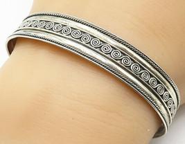925 Sterling Silver - Vintage Spiral Detail Twist Trim Cuff Bracelet - B... - $33.69
