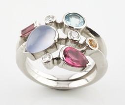 Cartier Vtg Meli Melo Platinum and Diamond & Gemstone Ring Size 54 c 1990s - $7,722.00
