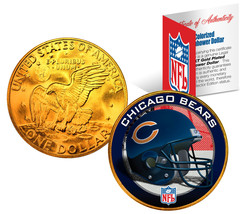 CHICAGO BEARS NFL 24K Gold Plated IKE Dollar US Coin *OFFICIALLY LICENSED* - $9.85