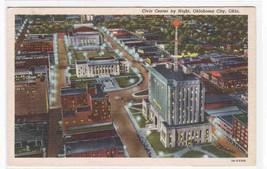 Civic Center by Night Oklahoma City OK 1946 linen postcard - $5.94