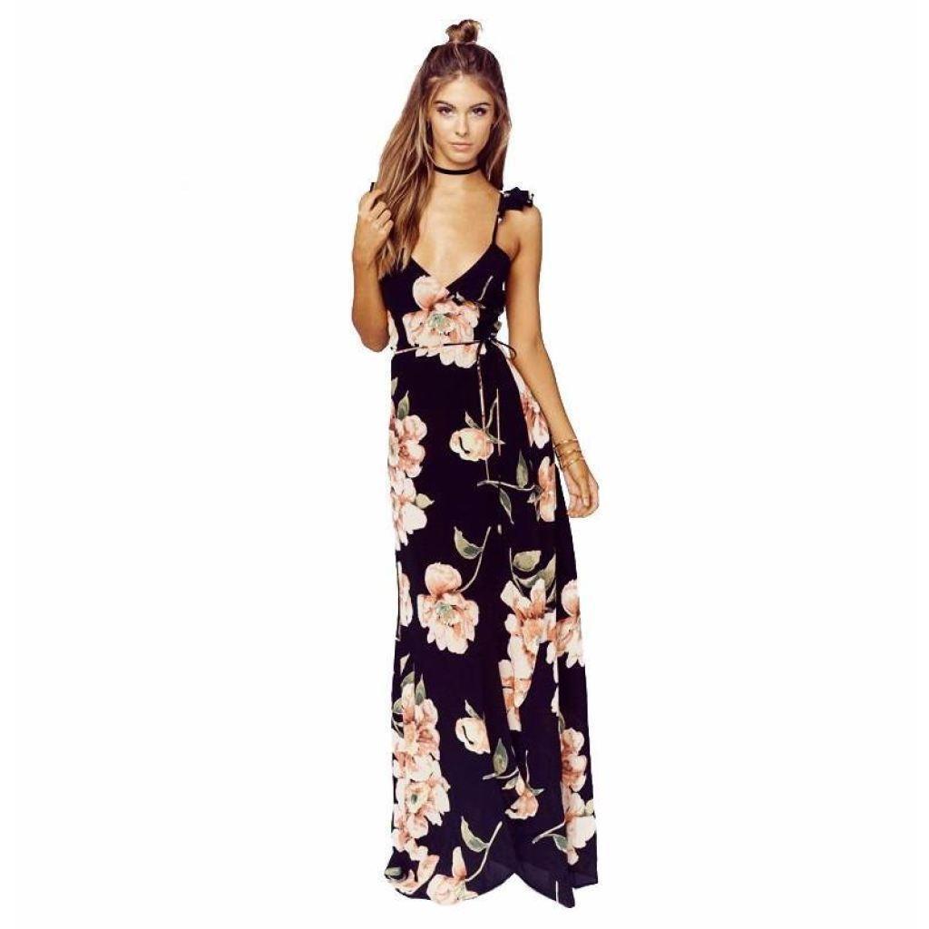 Floral print backless split deep v neck sexy maxi dress dresses damiswear 675