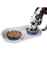 Pet Bowl Tray Feeding Mat Nonskid 2 Bowls Dogs Cats Pets Food Water Hold... - $29.49