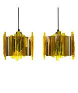 YELLOW PLEXIGLAS pendant pair by Claus Bolby, CEBO Industri, 1970s. - $960.00
