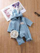 Toddler Boys Patched Detail Hooded Jumpsuit Without Bag - $32.00