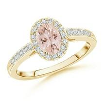 0.95ct Oval Morganite Diamond Halo Engagement Ring Gold/Platinum - $1,066.34+