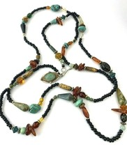 Vintage Artisan Beaded Necklace, Natural Stones, Turquoise - $28.49