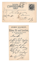 UX5 1876 Phila PA Fancy Cork Cancel Henry Lang Newark John Rockey Hides Leather image 1