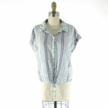 M - Sanctuary Anthropologie Striped Button Up Tie Front Linen Shirt Top ... - €24,29 EUR