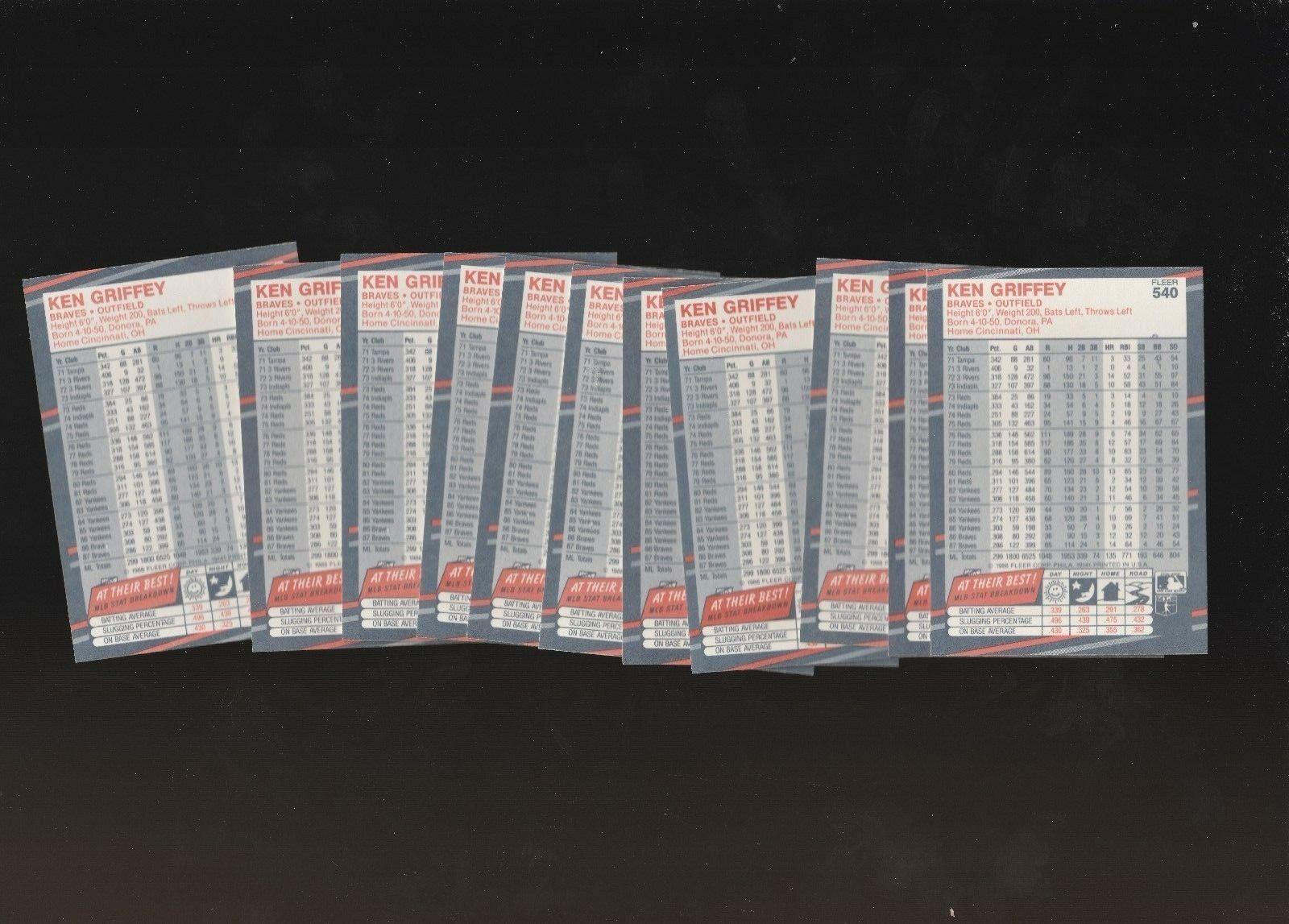 1988 Fleer Braves Ken Griffey #540  Lot of 12