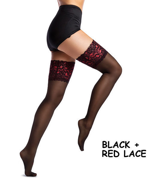 fd3f4a18f65 NEW Lace Top 20 40 denier Sheer Hold-Ups Stockings M-XXXXL plus big