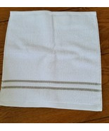 "Washcloth  Hudson Park Borderline Sand White with Tan Stripes 13""x 12"" - $3.91"