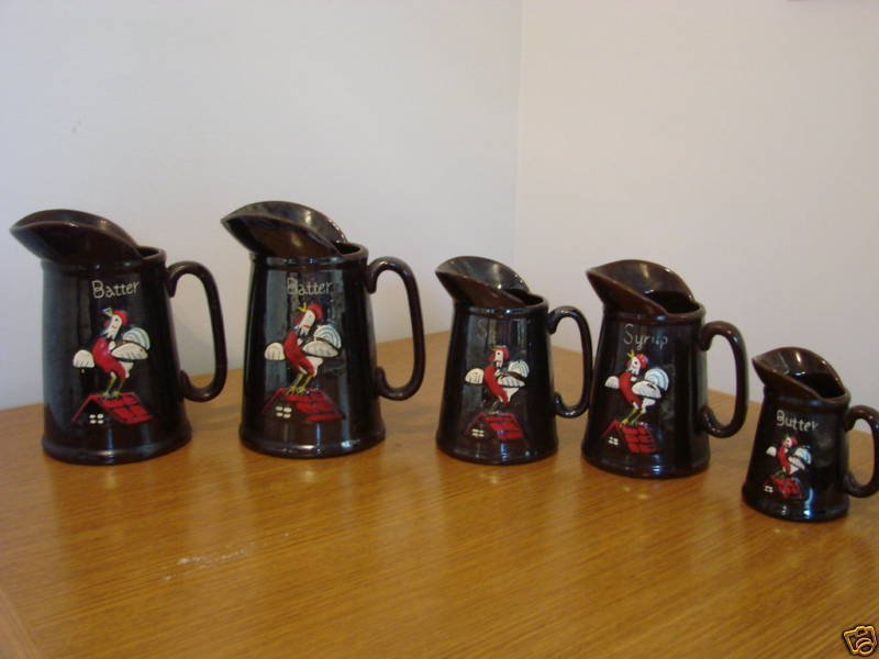 103C  Chicken Rooster Brown Glazed Batter Syrup Pitcher Set Bonanza