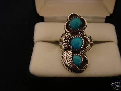 410  Sterling Silver Triple Stone Turquoise Ring Bonanza