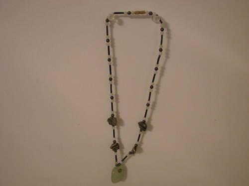 419  Beaded Necklace with Jade Pendant Bonanza