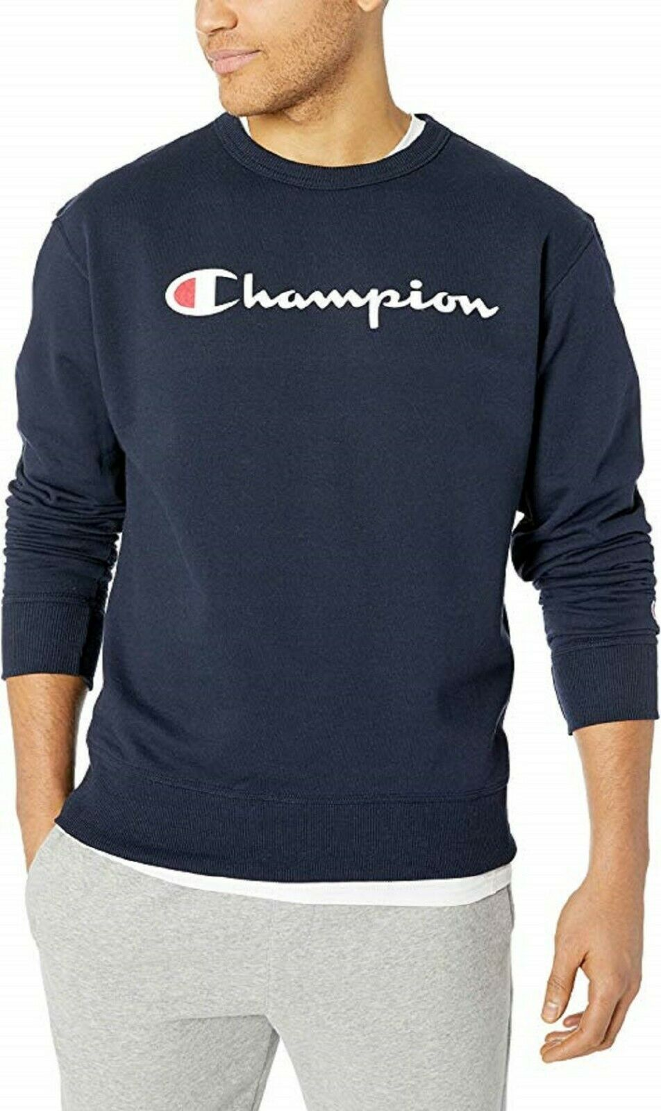Men's Champion Powerblend Script Navy Crewneck Sweatshirt Adult XXL