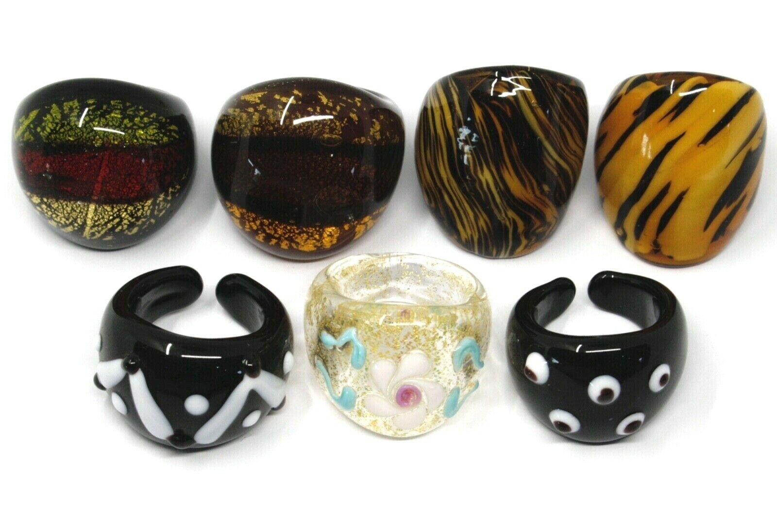 LOT OF 7 ANTICA MURRINA VENEZIA RINGS, MURANO GLASS, SIZE 8/8.5