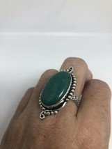 Vintage Silver Emerald Green Genuine Chrysoprase Size 7.25 Ring - $47.51