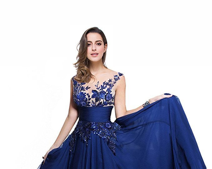 Women's Royal Blue Chiffon Prom Dresses Gown Long Formal Evening Party Dress