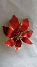 "2""SIGNED CERRITO POINSETTIA RED CHRISTMAS HOLIDAY FASHION BROOCH PIN,METAL, - $10.68"