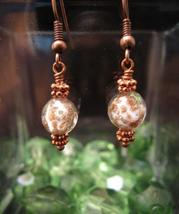 Murano Glass bead in Copper and White Earring - $10.00