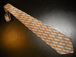 Countess Mara Neck Tie Silk Criss Crossing Diagonal Stripes Golds Silver... - $13.99