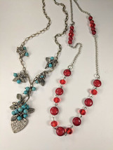 Lot Southwest Necklaces Turquoise & Heart + Crystal & Faux Red Turquoise... - $16.00