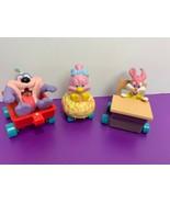 Lot of 3 Applause Tiny Toon Figures Vehicles Sweetie Babs Bunny Dizzy De... - $19.79