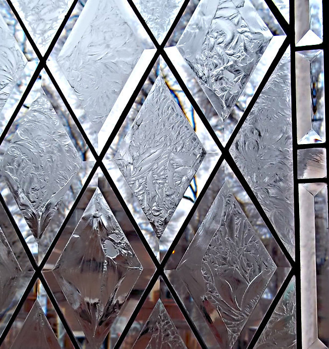 Stained Glass Window, Antique Beveled Restored with glue chipped bevels