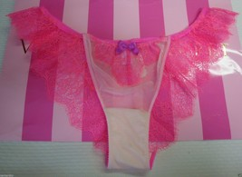 NEW VICTORIA'S SECRET VERY SEXY CHANTILLY LACE LOW RISE CHEEKINI PANTY PINK M image 1