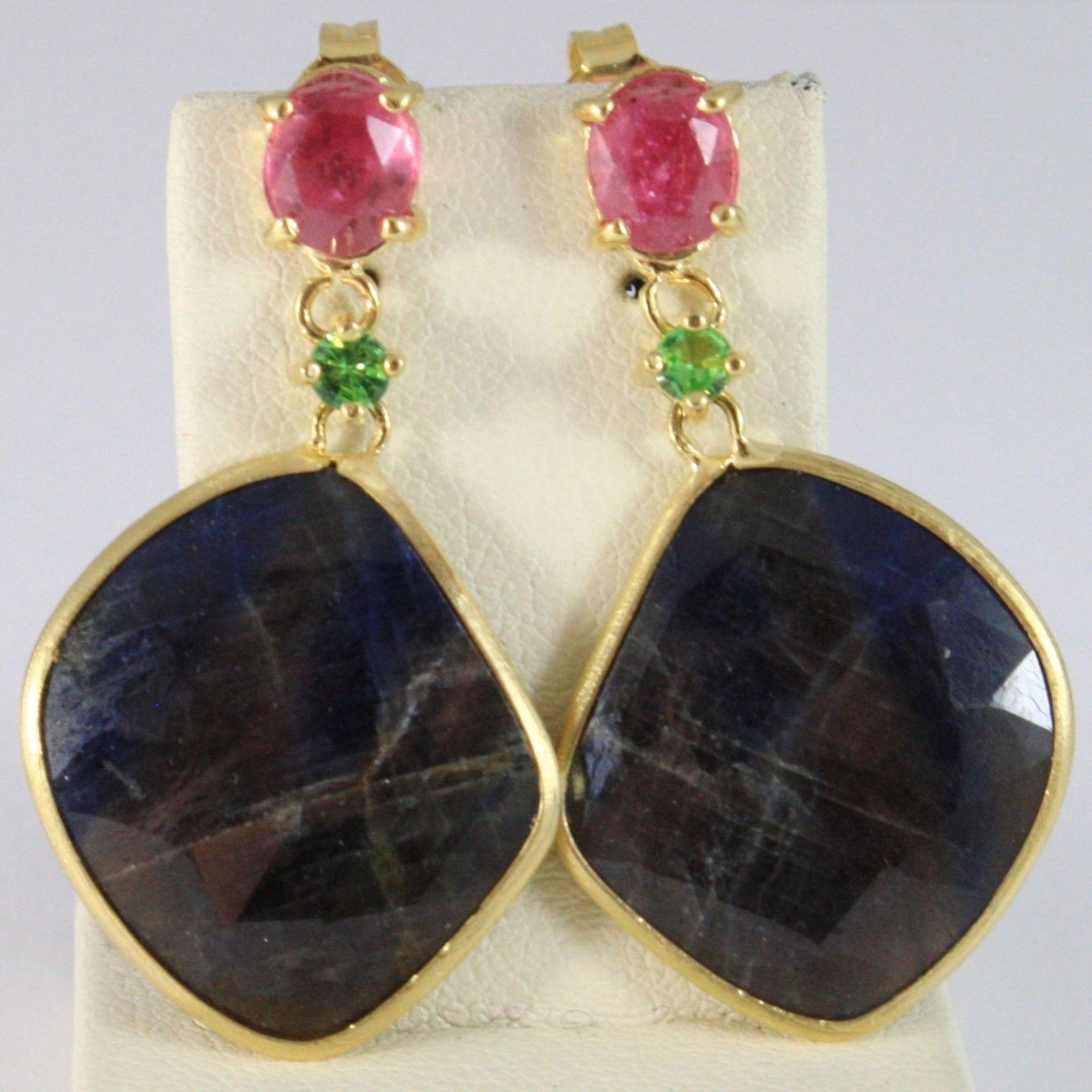 YELLOW GOLD EARRINGS 375 9K SAPPHIRES BLUE DROP, SAPPHIRES PINK OVAL AND PERIDOT