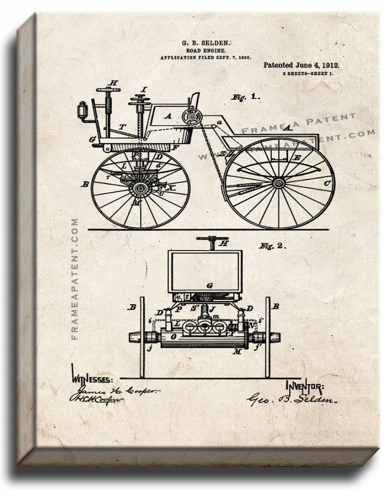 Primary image for Road Engine Patent Print Old Look on Canvas