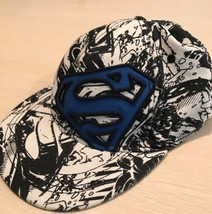 Superman Baseball Cap Hat Adult Sz L/XL DC Comics Graphics Black White Blue - $12.86