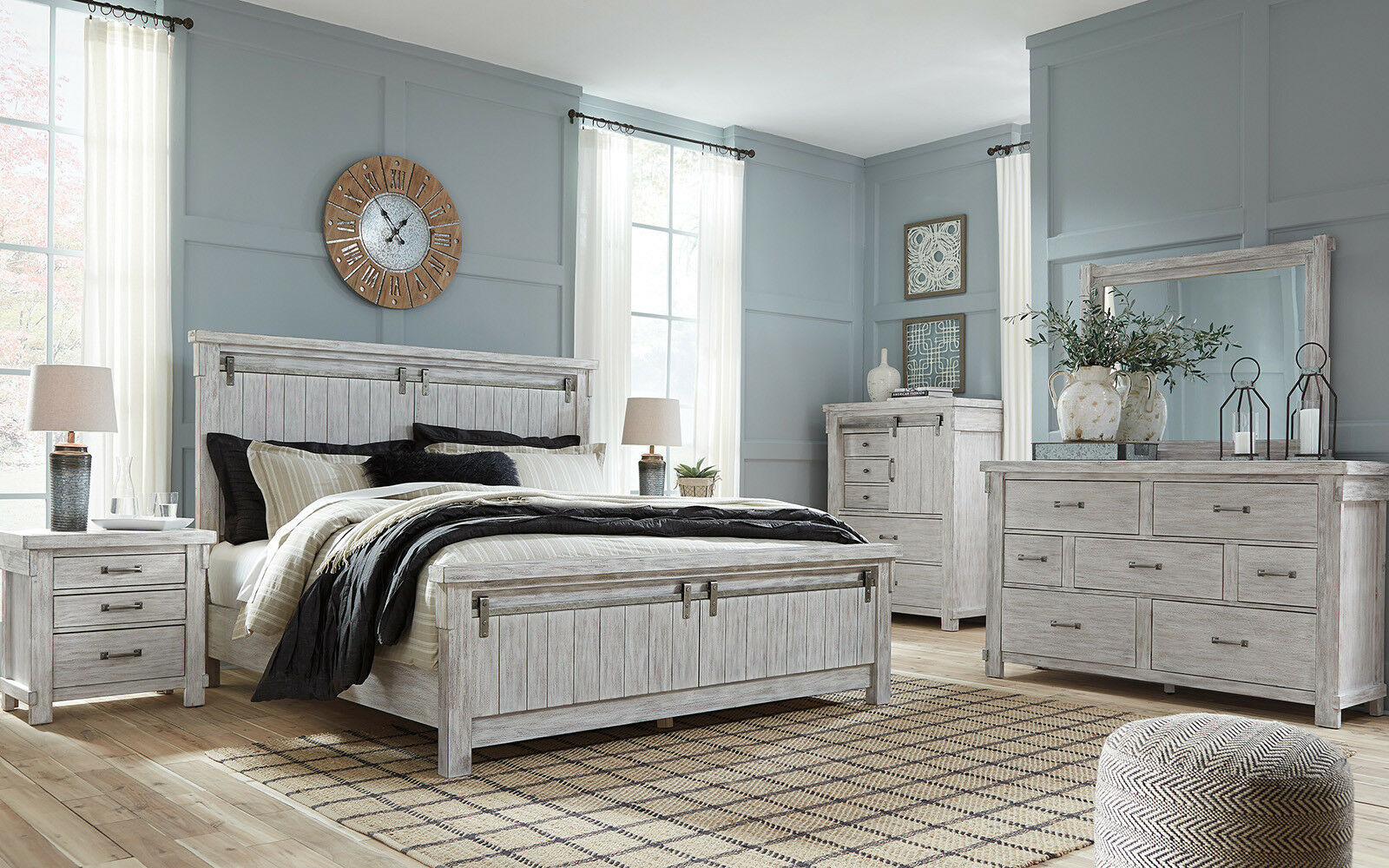 plano 5 pieces cottage weathered white bedroom suite w