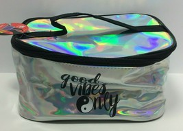 "Royal Deluxe Accessories ""Good Vibes Only"" Printed Silver Cosmetic Bag - $13.86"
