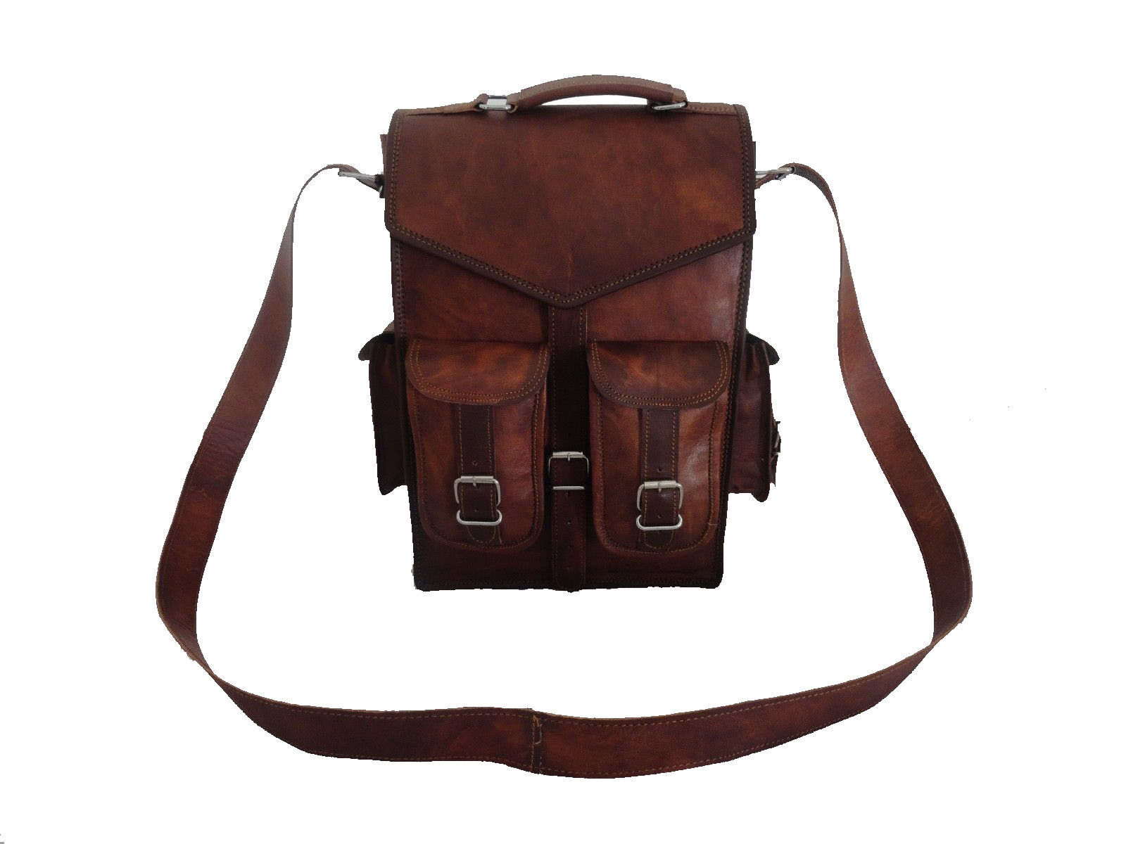 Real Buffalo leather handmade Backpack rucksack laptop Treking unisex Travel bag image 4