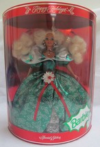 1995 Happy Holidays Special Edition Green Holley Dress Barbie - $32.48