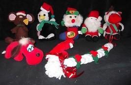 Vtg CHRISTMAS Stuffed Animal Plush Doll Lot 8~Reindeer~Pound Puppy~Mouse... - $8.11