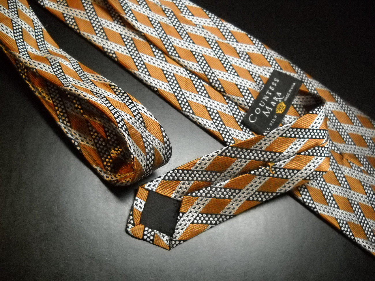 Countess Mara Neck Tie Silk Criss Crossing Diagonal Stripes Golds Silver Black