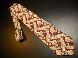 Joseph Abboud Neck Tie Swirl Designs in Hues of Burgundy Creams Silk from Italy - $12.99