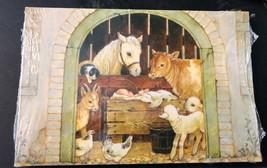 Vintage Hallmark Postcards Christmas Holiday Manger Scene Farm Barn Baby Jesus  - $8.00