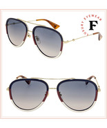 GUCCI 0062 Gold Sylvie Aviator Blue Gradient Metal Sunglasses GG0062S Un... - $296.01