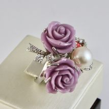 Silver Ring 925 Rhodium with Zircon Cubic Roses of Resin and Pearl White image 3