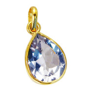 gorgeous Crystal Quartz Gold Plated White Pendant Fashion indian US - $5.63