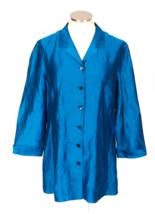 Vtg 90s DANA BUCHMAN Iridescent Shiny Blue Linen Blend Button Down Shirt 12 - $33.66