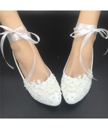 off white bridal shoes,comfortable flat bridal shoes ivory lace flat shoes - $50.10 CAD