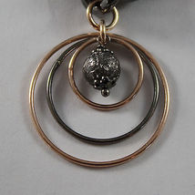 925 STERLING SILVER BURNISHED AND ROSE GOLD PLATED BRACELET CIRCLES & SPHERES image 5