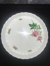 Christineholm Porcelain Fluted Quiche Pie Tart Plate Rose Pattern China - $35.00